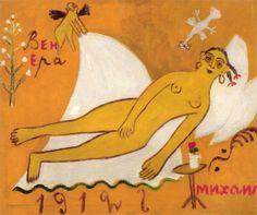 'Venus' (1912) by Russian avant-garde painter Mikhail Larionov (1881-1964).  Oil on canvas, 830 x 1000 mm. collection: State Russian Museum,Saint Petersburg. via PaintingDB