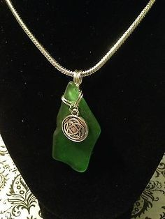 Genuine green sea glass pendant and necklace with Celtic charm