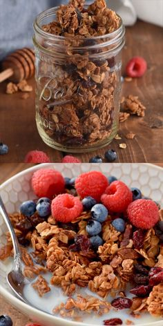 This easy Homemade Granola Recipe with honey is full of easy to find ingredients with lots of variations! It is a crunchy granola recipe that is going to feel like such a healthy start to the day. # Food and Drink homemade Homemade Granola Honey Recipes, Gourmet Recipes, Dessert Recipes, Health Recipes, Lunch Recipes, Easy Granola Recipe, Granola Recipe Without Nuts, Healthy Homemade Granola, Desert Recipes