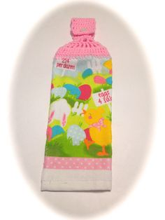 Eggs 4 Sale Easter Hand Towel With Soft Pink Crocheted Top by MeAndMomsCrafts on Etsy
