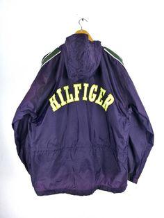 6185513a0656f5 TOMMY HILFIGER Big Logo Jacket Large 1990 s Tommy Colorblock Vintage Hip  Hop Rap Tommy Jeans Hoodie Windbreaker Jacket Coat Size L