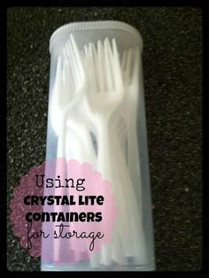 Crystal Lite Container for camping Storage idea but use real utensils and store with camping stuff in case we run out of plastic