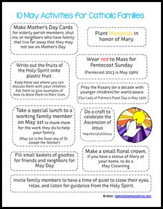 Contains some family activities for month of May (note-some may be n/a because this is from 2013)