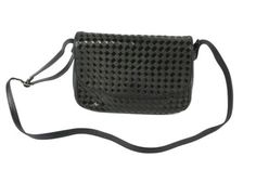 Cross-Over-Saddle-Bag-Tasche-Leder-nachtblau-schwarz-geflochten-Lack-Vintage-14B