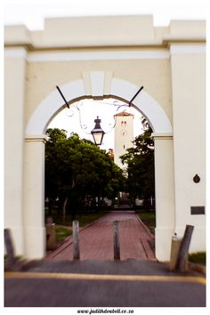 "Judith Doubell Photography Grahamstown, Eastern Cape, Rhodes University, South Africa,   #Lensbaby Looking through ""The Arch"" to Rhodes' Clock Tower"