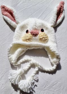 Handknit Bunny Hat for Kids White and Pink by KeepEmNStitches