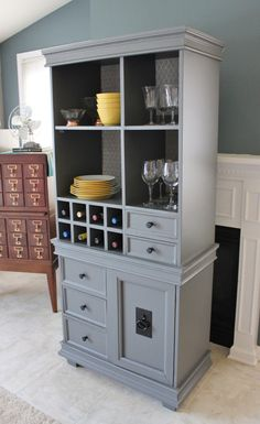Wine Bar Storage Cabinet Made From 1970s Tv Stand And Recycled And Salvaged Wood