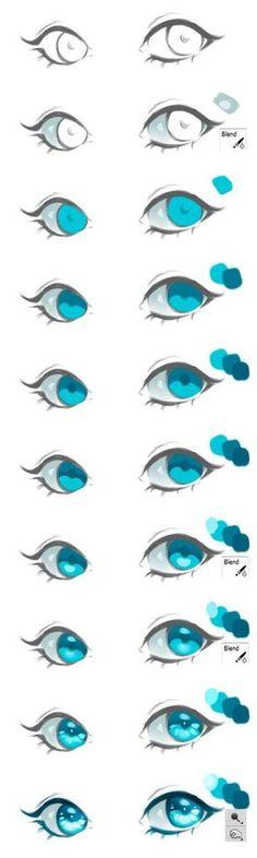Anime Drawing Tutorial Anime Eyes Coloring Tutorial by HaloBlaBla on DeviantArt - Eye Drawing Tutorials, Digital Painting Tutorials, Digital Art Tutorial, Drawing Tips, Art Tutorials, Drawing Ideas, Drawing Art, Drawing Techniques, Digital Paintings