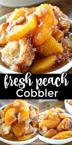 Fresh Peach Cobbler is an easy and delicious, old fashioned, peach cobbler recipe loaded with peaches and a cake-like topping. Good Peach Cobbler Recipe, Homemade Peach Cobbler, Easy Peach Cobbler, Peach Cobbler Cake, Peach Pies, Peach Cobblers, Fresh Peach Recipes, Recipes With Peaches, Peach Cake Recipes