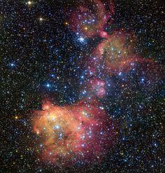 L'ESO ha pubblicato nuove fotografie della nebulosa LHA 120-N55, generalmente chiamata semplicemente N55, scattate con il VLT (Very Large Telescope). Si tratta di una nebulosa a emissione situata dentro una cosiddetta superbolla chiamata LMC 4 e ha un alone che nelle immagini ha vari colori come un mantello che adorna stelle di recente formazione ed è composto di gas rimasto dopo che la maggior parte è stata assorbita da quelle stelle. Leggi i dettagli nell'articolo!