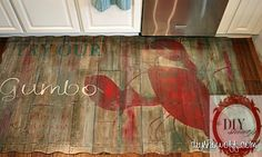 Painted foam kitchen mat based on a rustic vintage restaurant sign. I love how it looks like distressed wood. Kitchen Mat, Diy Kitchen, Kitchen Floor, Kitchen Ideas, Kitchen Stuff, Fun Crafts, Diy And Crafts, Knock Off Decor, Vintage Restaurant