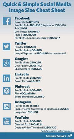 #SocialMedia #Image Size Cheat Sheet #Facebook #Twitter #GooglePlus (G+) #LinkedIn #Pinterest #Instagram #YouTube