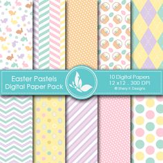 Easter Pastels - 10 printable High Quality Digital papers . check it in the link below. http://www.sherykdesigns.com/shop/all-products/easter-pastels-digital-paper-pack/prod_294.html
