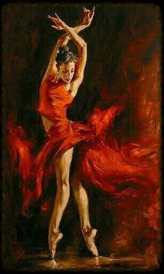 Ballerina Painting, Degas Ballerina, Paintings Of Dancers, Degas Paintings, Fire Dancer, Fire Painting, Painting & Drawing, Dress Painting, Firebird