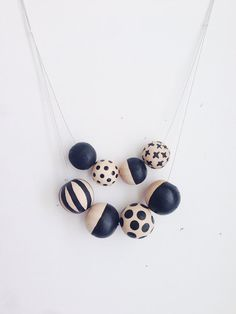 Double Chain Hand Painted Wooden Bead Necklace by jenloveskev