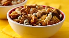 Three ingredients and five minutes is all you need to have this tasty snack ready. Chex Mix® bold party blend snack mix coupled with cashew and crumbled blue cheese makes quite a treat.