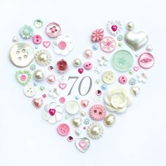 Personalised 70th Birthday Button Heart Framed Art