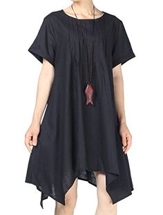 0c2dc89a1b Looking for Mordenmiss Women s Round Collar Hi-Low Hemline Dresses Pockets    Check out our picks for the Mordenmiss Women s Round Collar Hi-Low  Hemline ...