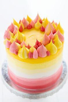 Pink & Yellow Buttercream Cake Recipe + Tutorial