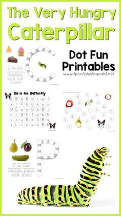 Very Hungry Caterpillar Dot Fun Printables!  Free printables to go along with the book by Eric Carle, focusing on beginning sounds and using real photographs!
