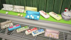 Egg cartons - open and closed. Recolors of tinkeringtinkle's awesome shelf life set! Download Made with S4S - Simlish fonts by ajaysims & gazifu (In pic: hen sculpture by ajoya-sims, display by...