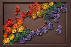 "Framed ""Rainbow Heart"" Paper Quilling"