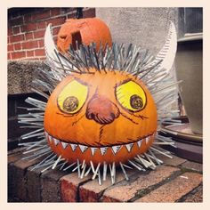 """""""Halloween might be over, but this Where the Wild Things Are pumpkin near our office is still awesome. Theme Halloween, Cute Halloween, Holidays Halloween, Halloween Pumpkins, Halloween Decorations, Halloween Makeup, Halloween Costumes, Owl Pumpkin Carving, Pumpkin Art"""