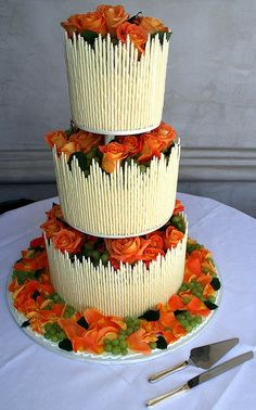 Autumn white chocolate stick wedding cake