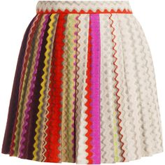 MISSONI Pleated Mini Skirt (3.855 RON) ❤ liked on Polyvore featuring skirts, mini skirts, saias, bottoms, mini skirt, short skirts, flared skirt, pink skirt and short knit skirt