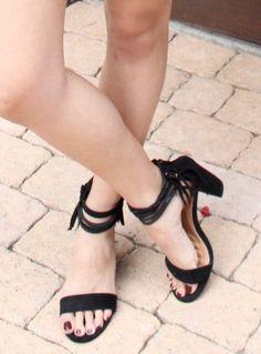 On the Fringe Suede Heels in Black