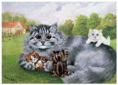 Louis Wain (5 August 1860 – 4 July 1939) was an English artist best known for his drawings, which consistently featured anthropomorphised large-eyed cats and kittens.