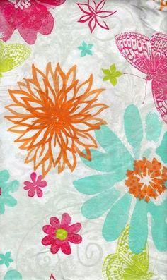 Floral Flowers Butterflies Blue Green Orange VINYL Tablecloth 52 X 70 Oblong