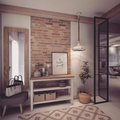 only a potition of a wall in bricks - like Minimalist Home Interior, Home Interior Design, Grey Kitchen Designs, Industrial Home Design, Hallway Designs, Hygge Home, Küchen Design, Beautiful Interiors, Home Living Room