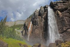 Another Telluride must-do, check out Colorado's largest free-falling waterfall at the East end of Main Street, Bridal Veil Falls. Description from mtntownmagazine.com. I searched for this on bing.com/images