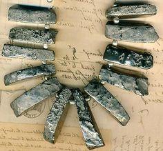 Silver-Hematite-Metallic-Stone-Graduated-Collar-Beads-Tucson-Find-Prospecting