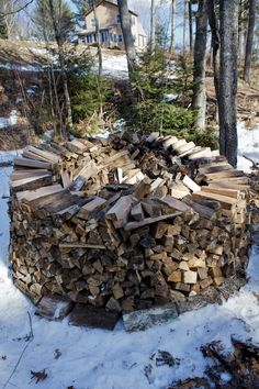 Round piles, the best way to stack wood. I think of my Dad, and pass the tradition on to the kiddos. Stacking Firewood, Stacking Wood, Swedish Log, Firewood Rack, Firewood Storage, Wood Fired Pizza, Garden In The Woods, Wood Rounds, Got Wood