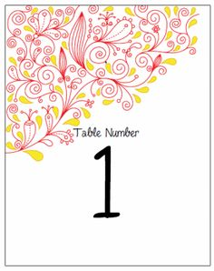 Table Number Cards. Printable Wedding Invitations Paisley Anya Suite: Red and Yellow