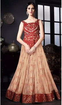 Cream Color Net Fabric Designer Ethnic Readymade Gowns   FH450770718 #gowns, #onlineshopping, #indiafashion, #indiangownsdres