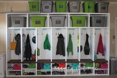 Need extra storage for all of your stuff? Then you need to build these garage mudroom lockers to organize all of your things! Need extra storage for all of your stuff? Then you need to build these garage mudroom lockers to organize all of your things!