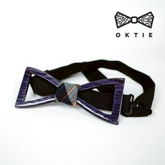 OKTIE Classic Wooden Bow Tie Handmade Bowtie Wood Accessories Gift for Men Ash curved bow tie Purple Violet