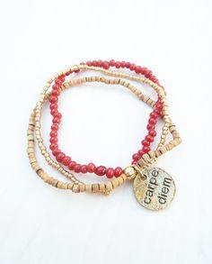 bracelet with 3 color beads (S-491a) van Dome's Design op DaWanda.com