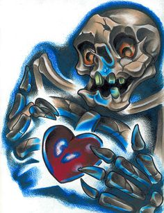 Skeleton holding a heart tattoo design by Corey Smola. Title: Heart Broke Artist: Corey Smola Made-to-order giclee fine art reproductions on canvas featuring the original artwork of today's hottest ta Heart Tattoo Designs, Skull Tattoo Design, Skull Tattoos, Animal Tattoos, Body Art Tattoos, Forearm Tattoos, Tattoo Art, Rolled Paper Art, Skull Artwork