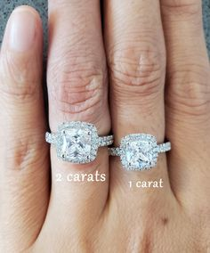 2 Carats 7 mm Cushion Cut Halo Ring Promise ring for her | #wedding #inexpensive #affordable #budget #engagement #haloring #alternative Cushion Cut Halo Ring, Cushion Cut Engagement Ring, Cushion Cut Diamonds, Halo Engagement Rings, Halo Rings, Promise Rings For Her, Man Made Diamonds, Free Ring, Diamond Simulant