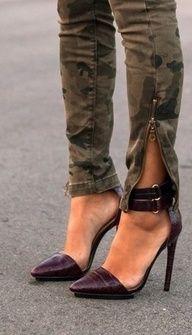 wine ankle strap stilettos and camo pants ! Zapatos Shoes, Women's Shoes, Shoe Boots, Jeans Shoes, Trouser Jeans, Shoes Style, Stilettos, High Heels, Sexy Heels