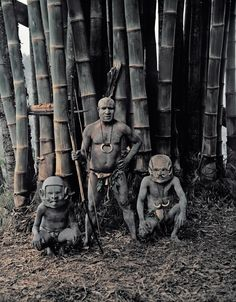 The mudmen could not cover their faces with mud because the people of Papua New Guinea thought that the mud from the Asaro river was poisonous. So instead of covering their faces with this alleged poison, they made masks from pebbles that they heated and water from the waterfall, with unusual designs such as long or very short ears either going down to the chin or sticking up at the top, long joined eyebrows attached to the top of the ears, horns and sideways mouths.