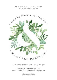 wedding invitations - Leafy ampersand by Jennifer Wick #weddinginvitation