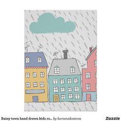 Rainy town hand drawn kids room nursery poster afflink