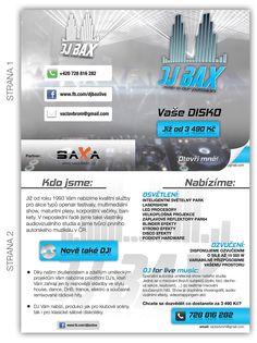 Propagační leták pro DJ BAX. Promotional flyer for DJ BAX.