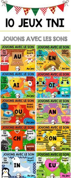 Plusieurs jeux peuvent se faire au TNI comme : jouons avec le son. C'est un jeu interactif qui permet aux élèves de manipuler les sons et donc de travailler la conscience phonologique tout en s'amusant. Le jeu offre de l'audio et permet donc de savoir comment bien prononcer chaque son. Dans l'apprentissage de la lecture, c'est une bonne idée d'offrir ce jeu au premier cycle pour concrétiser les sons. Le jeu leur permettra de mieux se rappeler de ceux-ci. Education And Literacy, French Education, French Teaching Resources, Teaching French, Teaching Spanish, Grade 1 Reading, Core French, Phonics Games, French Classroom