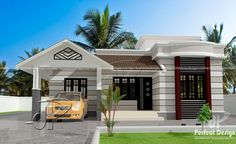 This gorgeous one story house with roof deck has a total floor area of square meters 796 sq. The porch can be re-purposed as a one car garage with an elevated sit out to at least 450 mm from the ground. Single Floor House Design, House Roof Design, Home Design Floor Plans, Small House Design, Modern House Design, House Floor Plans, Style At Home, Roof Styles, House Styles